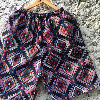 Hippie Boho Festival Men Aztec Shorts Beach Clothing Tribal Ikat Southwestern Native Vegan Style Burning man Coachella Hipster Unique Unisex