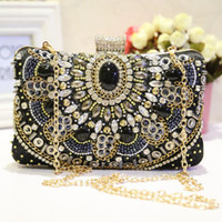 2018 new high-end retro black dinner bag clutch bag shoulder bag Messenger bag banquet bag handbag NO.2