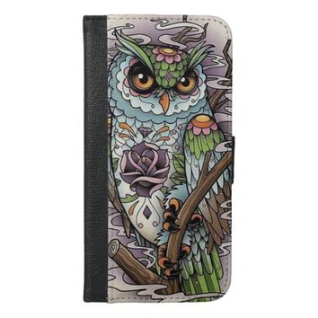 Sugar Skull Owl iPhone 6 Plus Wallet Case