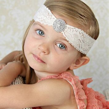 2pcs/lot Hot selling party children hair band high quality Rhinestones lace baby hair belt factory direct headdress