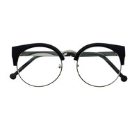 Womens Retro Vintage Style Clear Lens Half Frame Cat Eye Round Glasses R2400