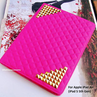 iPad Air case - iPad 5 case - iPad Air Leather - Studded iPad case - iPad Air stand - iPad air Smart cover,Pink iPad 5 cover, iPad Air Cover