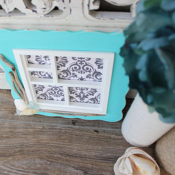 Coastal Shadowbox Picture Frame , Hand Painted with Driftwood , Seaglass and Shells