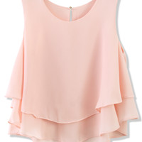 Layered Chiffon Crop Top in Pink