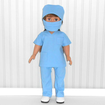 American Girl or Boy Doll Clothes Blue Surgical Scrubs for Doctor or Nurse with Mask and Cap