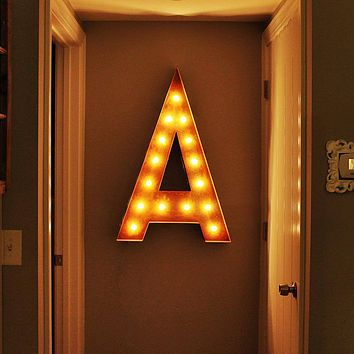 """36"""" Letter A Lighted Vintage Marquee Letters (Rustic)"""