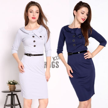 Women's Ladies Bodycon Business Casual Pencil Dress Cocktail Party Dress