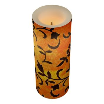3 X 8 FLORAL FALL COLORS DESIGN LED CANDLE