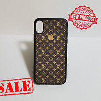 New Famous Brown LV18Pattern Apple Logo Best iPhone 7 7+ and X Hard Plastic Case