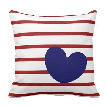 Red & White Stripes with Navy Heart