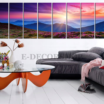 Colourful Autumn and Canvas Art Print 8 Panel Mountains Landscape, Mountains and Sunsets Large Canvas