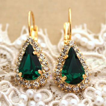Emerald green Crystal teardrop hook earring - 14 k plated gold post earrings real Swarovski rhinestones .