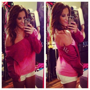 Studded Dip Dyed Ombré Off the Shoulder Sweatshirt Sz. Small