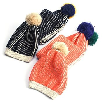 Fashion Knitted Ball Hat Scarves Children Pom Pom Hats Caps Autumn Winter Warm Baby Beanies New Boys And Girls Hat Scarf Set