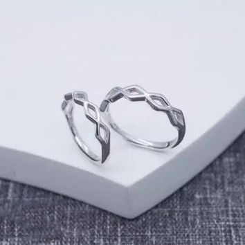 Simple line cross adjustable 925 sterling silver ring ALQ