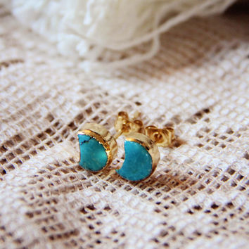 Crescent Turquoise Earrings