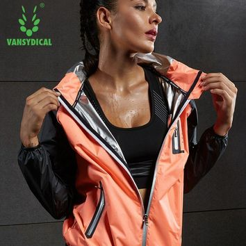 Vansydical Hot Sweat Sports Running Yoga Jackets Women's Hooded Gym Clothes Sweating Lose Weight Slimming Fitness Workout Tops
