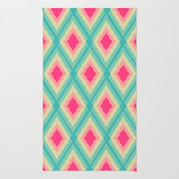 Geometric Ikat Pink Red Green Tribal Girly Pattern Rug by Girly Road
