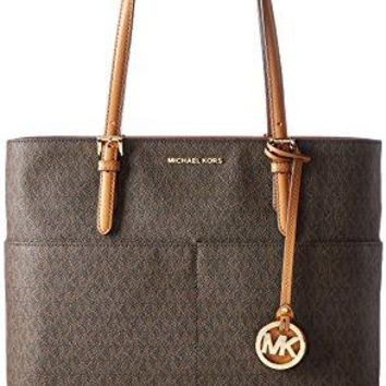 Michael Kors Women's Large Bedford Pocket Signature Tote Leather Shoulder Bag Michael Kors bag