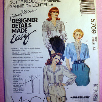 Women's Lace Blouse Misses' Size 14 McCall's 5709 Sewing Pattern Uncut