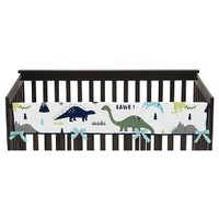 Sweet Jojo Designs Front Crib Rail Guard Cover - Blue & Green Mod Dino