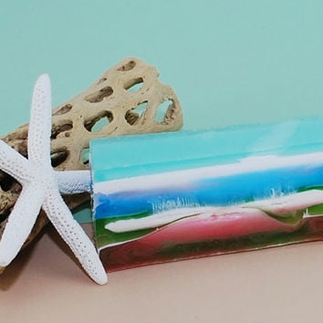 Seascape Soap Bar Homemade Soap Ocean Beach Bridal Shower Party Favors Handmade Soap Blue Green Handcrafted Soap