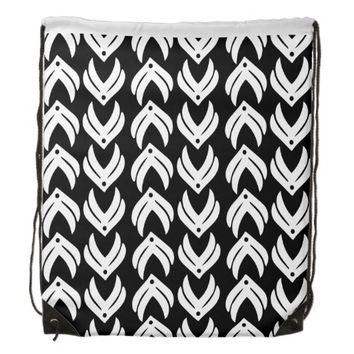 Black and white tribal style pattern drawstring backpack