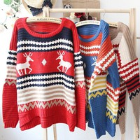 Loose Reindeer Pattern Sweater Blue Red Brown