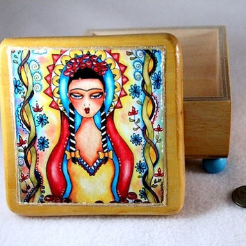 Jewelry Box, Decoupaged Wood Keepsake Box, Madonna Frida OOAK Mexican Art, Day of the Dead Wooden Trinket Box, Red Yellow Blue