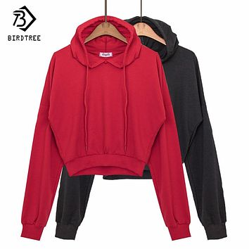 2017 Autumn Cropped Sweatshirt Women's Kpop Casual Oversized Sporty Thin Hooded Pullovers Hoodie Ladies Hoody Red Black C77924A