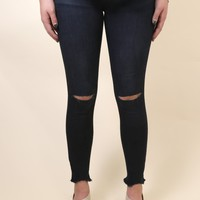 Low Rise Slit Knee Jean, Indigo