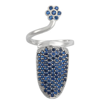 Blue on Silver Pave Nail Ring *Limited Quantities*
