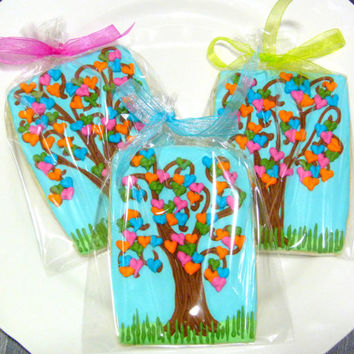 Handmade Love Tree Decorated Sugar Cookie Favor for Baby Showers or Weddings