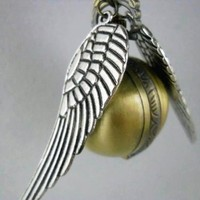 My Associates Store - Harry Potter Golden Snitch Enchanted Steampunk Double Sided Wings Balls Pocket Watch Necklace with a Extra Battery