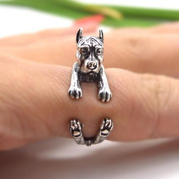 QIAMNI Pet Lovers Gift Handmade Boho Chic PitBull Dog Animal Rings for Women Men Unique Adjustable Statement Jewelry Accessories