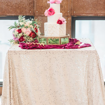 Matte Sequin Tablecloth, Champagne sequin table linen, modern glam wedding inspiration