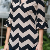 Hi-Lo Chevron Blouse, Black/Beige