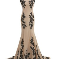 Sunvary Champagne and Black Mermaid Mother of the Bride Dress Chiffon