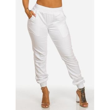 Womens Juniors High Rise Elastic Waist Jogger Pull On White Denim Jeans 10274L - Walmart.com