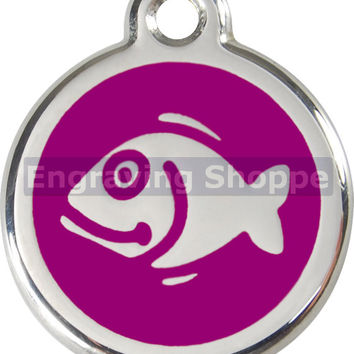 Small Fish Cat Tag Enamel and Stainless Steel Personalized Custom Pet Tag LIFETIME GUARANTEE ID Tag Dog Tags and Cat Tags Free Engraving