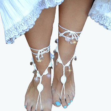 White Sexy crocheted barefoot sandals steampunk, victorian lace, sexy, yoga, anklet ,wedding, beach or pool party- Ready to Ship