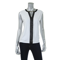 Calvin Klein Womens Matte Jersey Faux Leather Trim Pullover Top