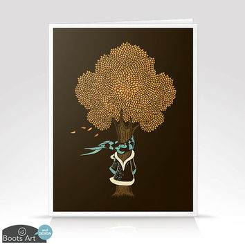 I'm Cold - Autumn Notecard with Envelope. Single card or set of 6. Blank inside. For fall or any occasion.