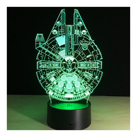 3D Star War Millennium Falcon Projector Night Bulb USB Powered LED Lights Desk Lamp