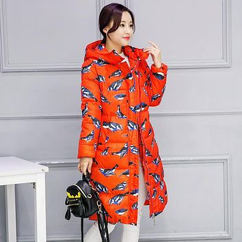 2016 winter new women cotton coat long section thick warm bird print fashion hooded down cotton jacket Plus Size loose Outwear