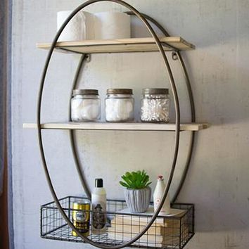 Tall Oval Metal Framed Wall Unit With Recycled Wood Shelves