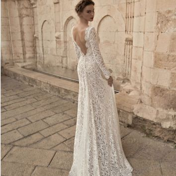 Lace V-Neck Long Sleeve Stitching Halter Maternity Gown (Multiple Colors Available) - CCO52