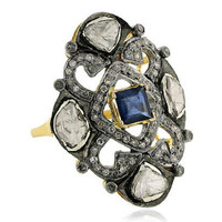 Antique style 14k gold rose cut diamond precious blue sapphire gemstones designer  rings jewelry