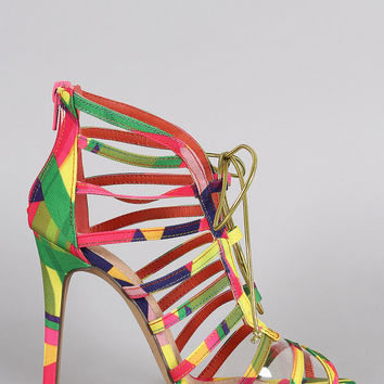 Liliana Multicolor Geometric Print Strappy Lucite Lace Up Heel
