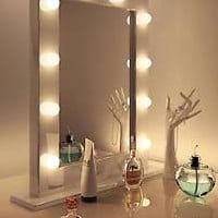 High Gloss White Hollywood Makeup Theatre Dressing Room Mirror k113